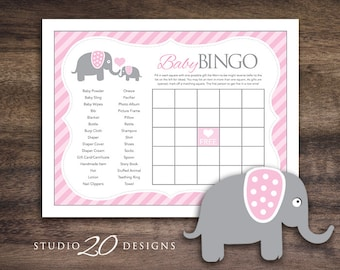 Instant Download Pink Elephant Baby Shower Bingo Cards for Girl, Printable Baby Shower Game Sheets, Pink Grey Downloadable BINGO Card #22B