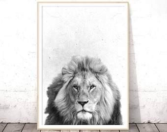 Black and White, Lion Print, Nursery Animal Art, Baby Nursery Decor, Instant Digital Download, Safari Decor, Nursery Prints, Baby Wall Art