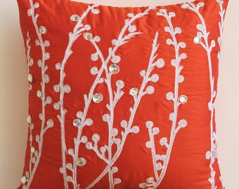 Decorative Throw Pillow Covers Accent Pillow Couch Pillow 20 Inch Silk Pillow Cover Embroidered - Coral Orange Willow