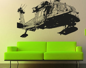Vinyl Wall Decal Sticker Detailed Helicopter 5053s