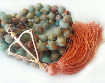 Faceted Natural Blue Opal Power Mala Prayer Bead Necklace  / Eco-Friendly Jewelry