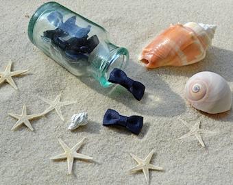 Modern Bow Infant Snap Clip in Navy Bean (Navy Blue) // Bow Tie Hair Clip // Newborn Petite Hair Clip