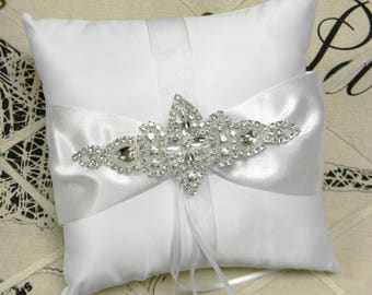 Ring Bearer Pillow, White or Ivory Ring Bearer Pillow, Crystal Rhinestone Wedding Ring Pillow, Satin Pillow, Traditional Wedding Decorations