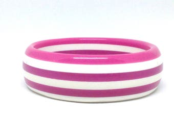 Vintage Estate White Pink Stripe Round Gorgeous  Bracelet