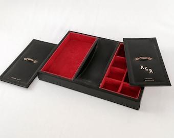 Vintage Jewelry Box, Men's Cufflink Box, Black and Gold Exterior, Red Velvet-like Interior, Valet Box, Jewelry Storage, Jewelry Organizer