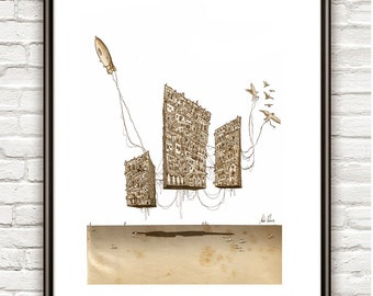 GRAVITY IN 3 ACTS , Surrealism, architectural Drawing, Architectural sketch