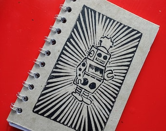 Small Block Print Recycled Blank Book - Robot
