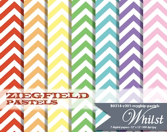 Pastel chevron digital paper, scrapbooking red orange yellow green blue purple pink  : b0314 v301 roygbip pastel