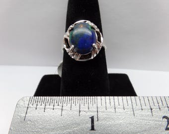 Vintage Sterling Silver Ring w/ Blue/Green Stone / FCM