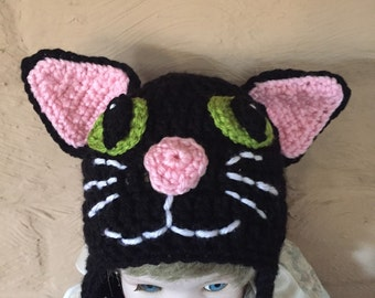 Cat Hat, Black Cat Hat, Crochet Black Cat Hat
