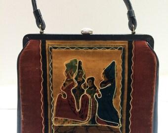 GERMAN Renaissance Fashionista Vintage Doctors Bag Velour Tapestry Handmade Antique HandBag artedellamoda talkingfashion