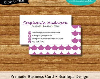 Premade Business Card. Scallops Design. Printable Business Card Design.