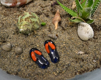 Miniature Fused Glass Flip Flops, Dish Garden Miniatures, Fairy Garden Decor, Fairy Accessories, Beach Decor, Party Favor, Blue and Orange