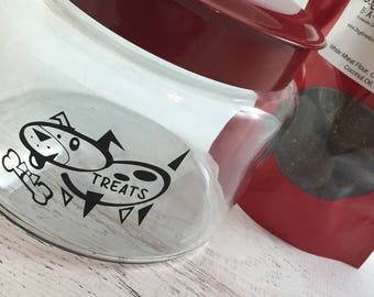 Dog Treat Jar With or Without Treats with Red Lid ~ Dog Logo Treat Canister ~ Treat Container ~ Homemade Dog Biscuits ~ Dog Snacks Storage
