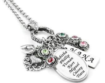 Kids Names - Grandma Necklace - Grandmothers Necklace - Personalized Grandma Gift - Nana Gift - Grandmothers Gift - Mimi