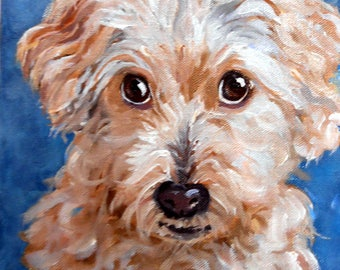 """Father's Day Custom Pet Portrait Oil Paintings, 4"""" x 4"""" with tabletop easel"""
