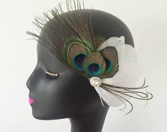 Feather Fascinator Hair Clip Headband Wedding 20s Gatsby Party Vintage Headpiece