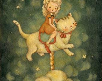 Children's Art - The Kitty Carousel Print 5x7 / 6x8 - Nursery Art, Girl, Kitten, Cat, Night, Bedtime, Stars, Cute, Blue, Cream, Yellow, Red