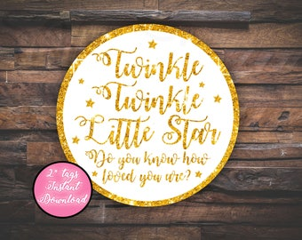 Twinkle Twinkle Little Star, Thank you Tags, favor tags, twinkle tags, star tags