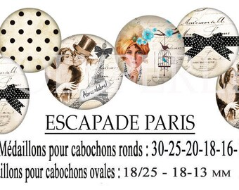 Images digitals cabochons getaway PARIS jewelry