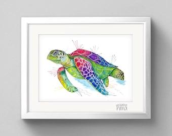 A4 Turtle Watercolour Print