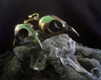 Brass Bird Skull Earrings