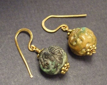 Vintage carved turquoise earrings with gold.  14mm beads, 1 inch earrings