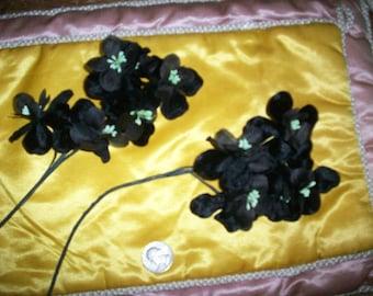 Vintage black velvet floral spray 1930s