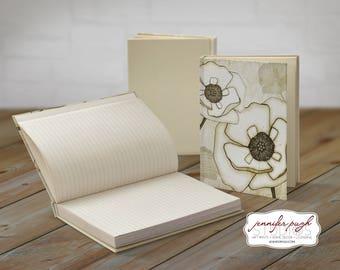 White Poppies 5x7 Hardback Bound Journal -Inspirational, Word Art