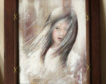 'Gone with the wind' painting, portrait girl, vintage, front in old frame, wind