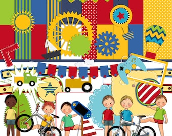 Boys Scrapbook Kit, Childrens scrapbook Kit, Boys Play Clipart, Bikes, Hot air Balloon,Trucks, Instant download, Digital Scrapbook