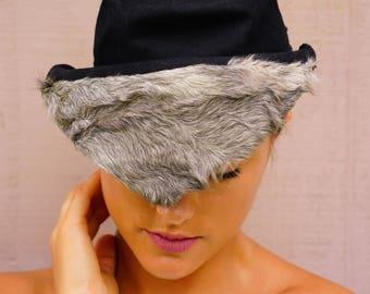 Vintage Hat, Vintage Womens Hat, 1940s Millinery, Vintage Tilt Hat, Fur Hat, Vintage Felt Hat, Miniature Hat, 1940s Hat, Vintage Millinery