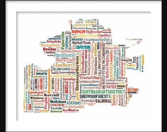 Memphis Map Multi Color Typography Map Poster Print