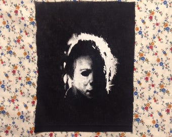Michael Myers HALLOWEEN PATCH screenprinted and stalking Jamie Lee Curtis allover your neighborhood