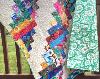 Baby Girl Quilt Bold Bright Fun Modern Scrappy Log Cabin Scrappy Style OOAK Nursery Crib Bedding