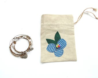 Linen gift bag, drawstring pouch, Happy Birthday, blue posy flower gift for her