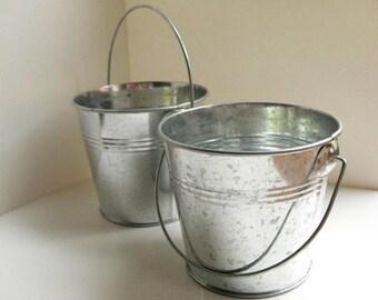 """Silver Galvanized  Bucket - 3"""" metal bucket, small pail, party favor bucket, wedding favor bucket, rustic wedding decor, bucket planter"""