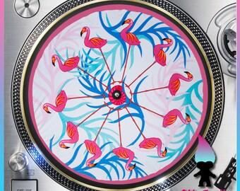 "Pink Flamingo Turntable Slipmat - 12"" LP Record Player, DJ Slipmat- 16oz Felt w/ Glazed Bottom"