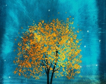 Golden Leaves -- 11x14 giclee print, art, tree art,print,gift,art collectibles,wall art,wall decor,wall decor
