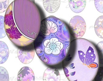 Japanese Design Purple (1) Digital Collage Sheet - Ovals 30x40mm or 18x25mm or other sizes available - Buy 3 Get 1 Extra Free