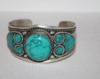 Turquoise Bracelet, Boho bracelet, Silver Bracelet, Turquoise jewelry, Hippie Bracelet, Turquoise Bangle, Turquoise cuff, Turquoise lover