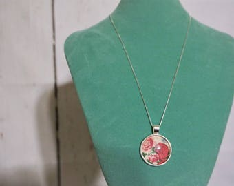 925 Sterling Silver Necklace - Upcycled Fabric Pendant