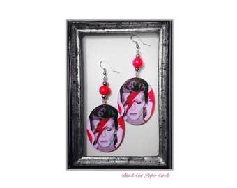 Ziggy Stardust David Bowie handmade handcrafted wooden earrings decoupage