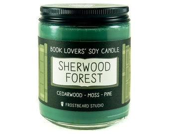Sherwood Forest - 8 oz Book Lovers' Soy Candle -  Book Lover Gift - Scented Soy Candle - Frostbeard Studio - 8 oz Jar