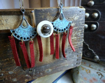 The Sky Fire Leather Tribal Earrings. Teal Verdigris tribal elements & red suede leather fringe Boho earrings