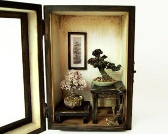 Bonsai Trees set, Vintage miniature Dollhouse 1/12 (BMS04)