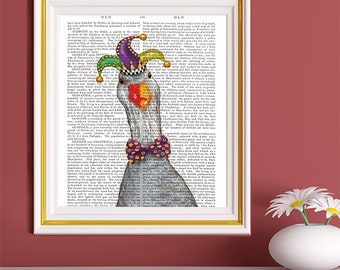 Silly Goose, Jester Hat on Goose - Baby room decor colorful prints funny office art home office decor art for boys room art for girls room