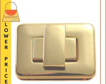 "Rectangle / Square Turn Lock, Gold Finish, 1-3/8"" x 1"", Handbag Bag Making Hardware Supplies, Purse Closure, CSP-AA014"