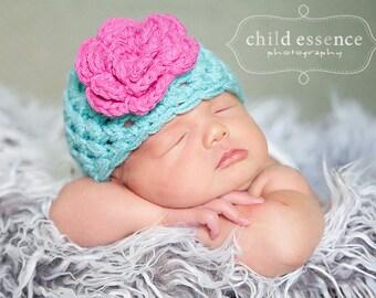 Crochet Baby Hat / Newborn Girl Hat / Baby Girl Hat / Newborn Beanie / Baby Shower Gift Girl / Crochet Newborn Hat / Baby Girl Beanie