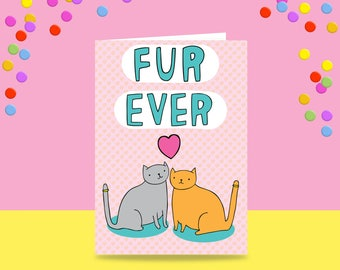 Greeting Card - Fur Ever   Wedding Card   Wedding Card For Cat Lovers
